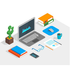 workspace concept 3d isometric view vector image