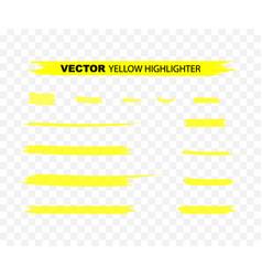 Yellow highlighter marker strokes yellow vector