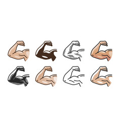 arm muscles strong hand icon or symbol gym vector image