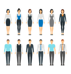 cartoon business people set staff dress style vector image vector image