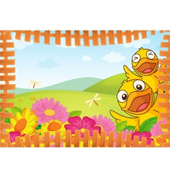 Fence Bordered Nature Background vector image vector image