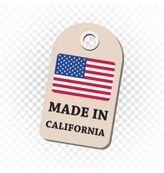 Hang tag made in california with flag on isolated vector