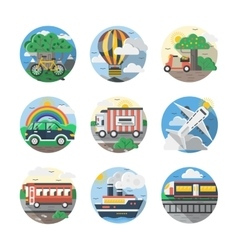 Mode of transport color detailed icons set vector image vector image