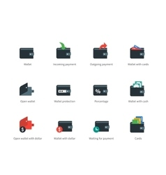 Wallet and transaction color icons on white vector