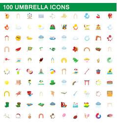 100 umbrella icons set cartoon style vector