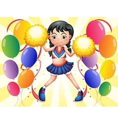 A young cheerer in the middle of the balloons vector image
