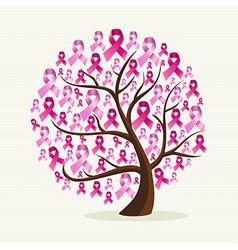 Breast cancer awareness pink ribbons conceptual vector image