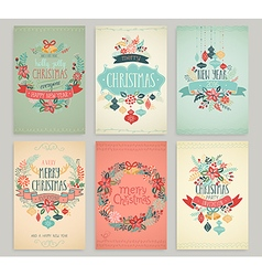 christmas handdrawn cards vector image vector image