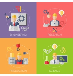 Engineer construction manufacturing workers with vector image vector image