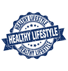 healthy lifestyle stamp sign seal vector image