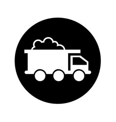Mining truck vehicle isolated icon vector