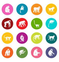 monkey types icons many colors set vector image