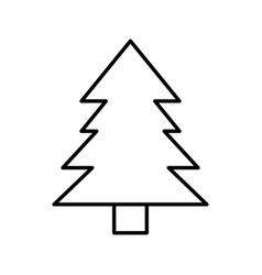 Pine tree natural outline vector