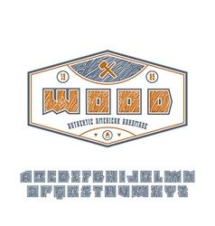 Square sanserif contour font with wood texture vector image