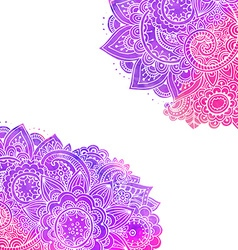 template with doodle flowers and watercolor vector image