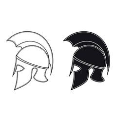 Ancient greek warrior helmet side silhouette vector