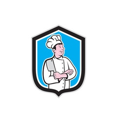 Chef Cook Holding Knife Arms Crossed Cartoon vector image vector image
