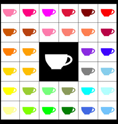 cup sign felt-pen 33 colorful icons at vector image vector image