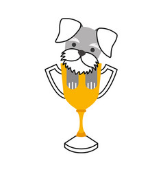 cute dog mascot with trophy vector image