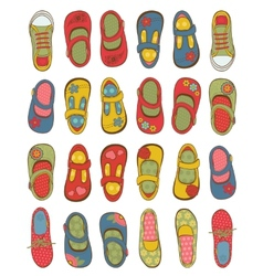 Cute girls shoes collection vector image vector image