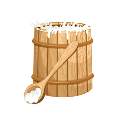 full milk wooden barrel isolated icon vector image vector image