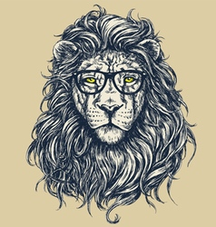 Hipster lion vector image vector image