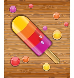 Ice cream on wooden background vector image vector image