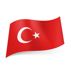 national flag of turkey white crescent moon with vector image