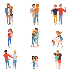 set with hugging people friends girlfriends vector image