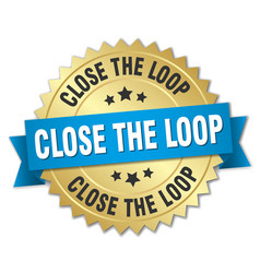 Close the loop round isolated gold badge vector