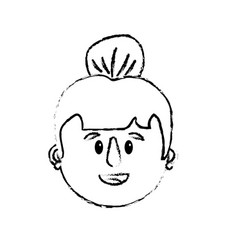 figure old woman face with hairstyle vector image