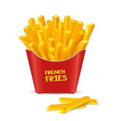 French fries in red paper box vector