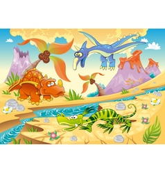 Monsters Dinosaurs with prehistoric background vector image vector image