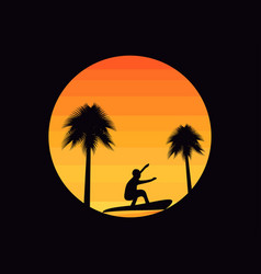palm trees and a surfer on a sunset background vector image