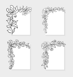 set of black and white hand drawn corner floral vector image vector image