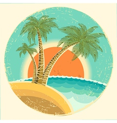 Vintage Exotic tropical island vector image