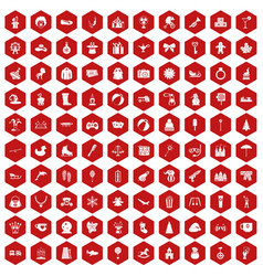 100 children icons hexagon red vector