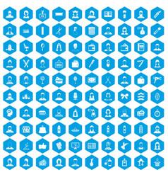 100 hairdresser icons set blue vector image
