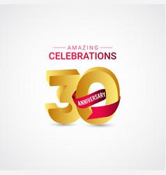 30 years anniversary amazing celebration gold vector