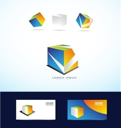 Abstract cube box logo set vector