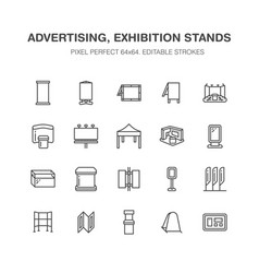 Advertising exhibition banner stands display line vector