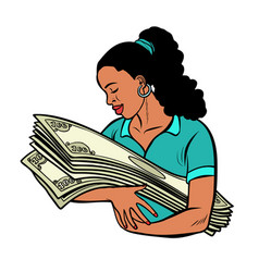 African woman loves money isolate on white vector