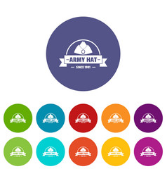 Army hat icons set color vector