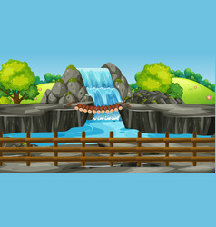 Background scene with waterfall in park vector