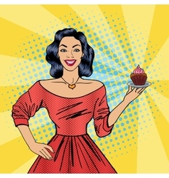 Beautiful Woman Holding a Plate with Cake vector