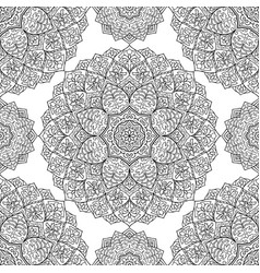 black and white ornament with mandala vector image