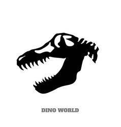 black silhouette of dinosaur skull vector image