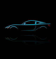 Blue sport car silhouette vector