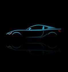 blue sport car silhouette vector image