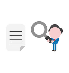businessman character holding magnifying glass vector image